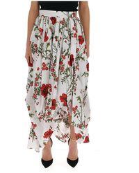 Alexander McQueen Floral Print Asymmetric Cascade Skirt - Multicolor