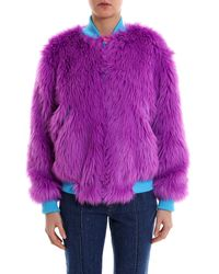 Alberta Ferretti Faux Fur Jacket - Purple