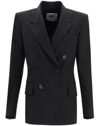 MSGM - Double-breasted Blazer In Wool Blend - Lyst