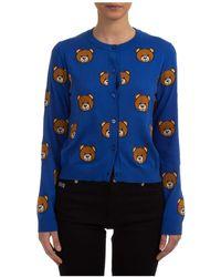 Moschino Teddy Bear Motif Cardigan - Blue