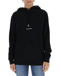 Saint Laurent Logo Embroidered Hoodie - Black