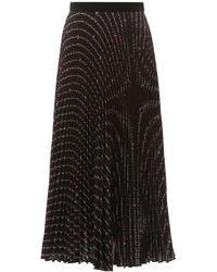 Miu Miu Pleated Midi Skirt With Flower Print - Black