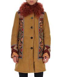 Etro Jacquard Panelled Fur Trim Coat - Brown