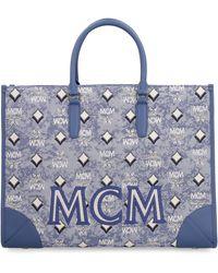 MCM Visetos Top Handle Tote Bag - Blue