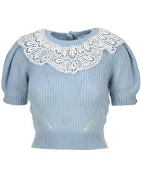 Self-Portrait Lace Collar Knitted Sweater - Blue