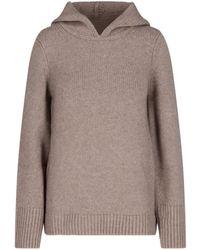 Khaite Ribbed-knit Hoodie - Brown