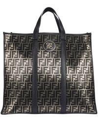 Fendi Ff Jacquard Motif Tote Bag - Black