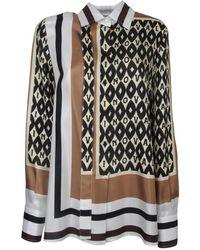 Valentino Pattern Print Silk Shirt - Black