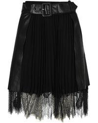 Self-Portrait Faux Leather Mini Wrap Skirt - Black