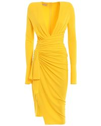 Alexandre Vauthier Plunging Draped Dress - Yellow