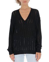 Uma Wang Sheer V-neck Knitted Jumper - Black