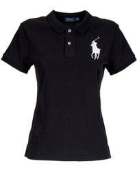 Polo Ralph Lauren Logo Embroidered Polo Shirt - Black