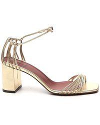 L'Autre Chose Ankle Strap Block-heel Sandals - Metallic