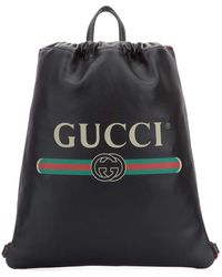 Gucci Logo Drawstring Leather Backpack - Black