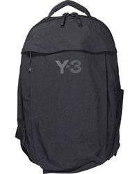 Y-3 Logo Embellished Backpack - Black