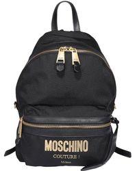 Moschino Logo Plaque Zipped Backpack - Black