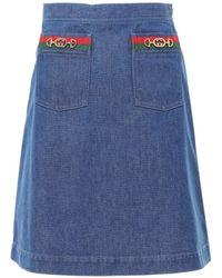 Gucci A-line Web Detail Denim Skirt - Blue