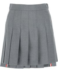Thom Browne Pleated Mini Skirt - Gray