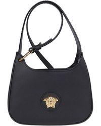 Versace Medusa Logo Plaque Shoulder Bag - Black