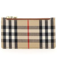 Burberry - Checked Zipped Cardholder - Lyst