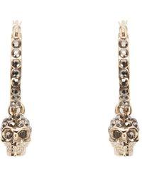Alexander McQueen Pave Skull Hoop Earrings - Metallic