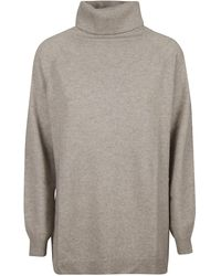 Allude Roll Neck Knit Jumper - Natural
