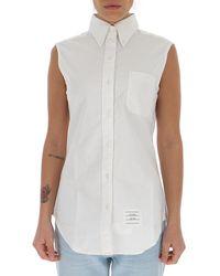 Thom Browne Sleeveless Buttoned Shirt - White