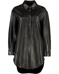 Pinko Leather Shirt Jacket - Black