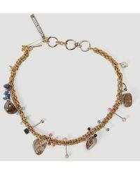 Marine Serre Psychotropic Charm-embellished Necklace - Metallic