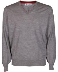 Brunello Cucinelli V-neck Sweater - Grey