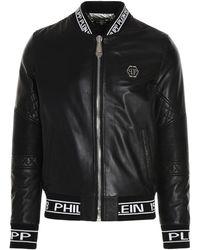 Philipp Plein Other Materials Outerwear Jacket - Black
