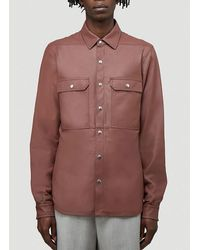 Rick Owens Leather Shirt Jacket - Red