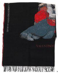 Valentino Intarsia Knitted Scarf - Black