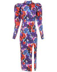 ROTATE BIRGER CHRISTENSEN Abstract Print Slit-detailed Midi Dress - Red