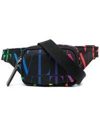 Valentino Vltn Printed Belt Bag - Black