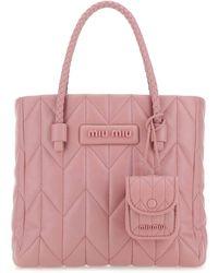 Miu Miu Quilted Motif Top Handle Bag - Pink