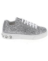 Miu Miu Crystal Embellished Glitter Sneakers - Metallic