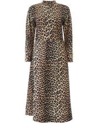 Ganni Leopard Print Midi Dress - Multicolour