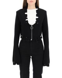 The Attico Distressed Half-zip Cardigan - Black