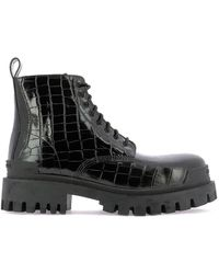 Balenciaga Embossed Lace-up Ankle Boots - Black
