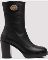 Gucci Ankle Boot With Interlocking G - Black