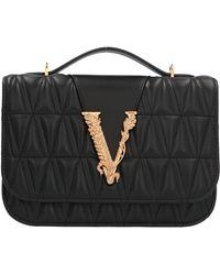 Versace Virtus Quilted Shoulder Bag - Black