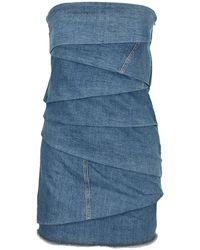 Philosophy Di Lorenzo Serafini Denim Straplesss Tiered Denim Dress - Blue