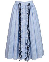 Miu Miu Gingham Flared Midi Skirt - Blue