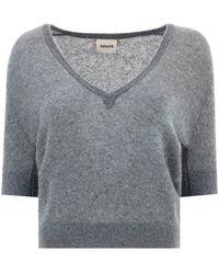 Khaite The Sierra V-neck Knitted Sweater - Gray