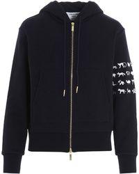 Thom Browne Animal Icon 4-bar Hooded Jacket - Blue