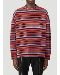 Martine Rose Martin Rose Striped Crewneck Sweatshirt - Red