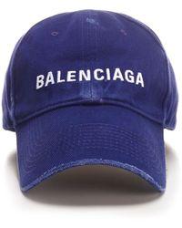 Balenciaga Logo Embroidered Baseball Cap - Blue