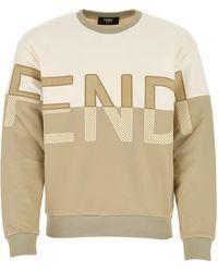 Fendi Two-tone Logo Sweatshirt - Natural