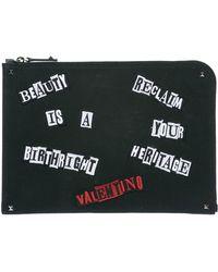 Valentino Garavani Appliqué Clutch Bag - Black